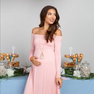 Pink blush pink off shoulder maternity dress